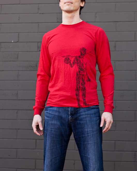 Men's Long Sleeve Red Berimbau Shirt
